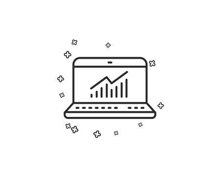 Data Analysis and Statistics line icon. Report graph or Chart sign. Computer data processing symbol. Geometric shapes. Random cross elements. Linear Online statistics icon design. Vector  イラスト・ベクター素材