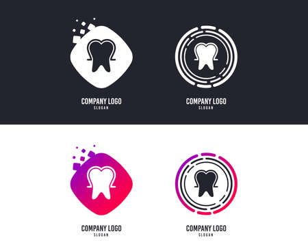 Logotype concept. Tooth enamel protection sign icon. Dental toothpaste care symbol. Healthy teeth. Logo design. Colorful buttons with icons. Vector