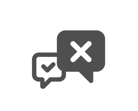 Reject message icon. Decline or remove chat sign. Quality design element. Classic style icon. Vector