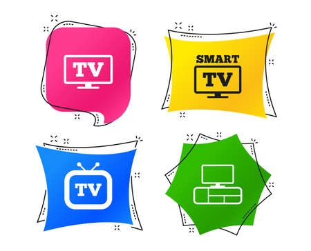 Smart TV mode icon. Widescreen symbol. Retro television and TV table signs. Geometric colorful tags. Banners with flat icons. Trendy design. Vector