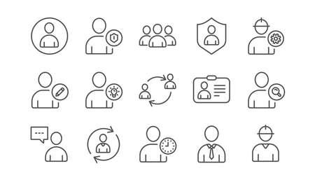 Icone della linea della persona dell'utente. Profilo, gruppo e supporto. Insieme dell'icona di persone lineare. Vettore Vettoriali