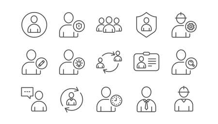 User person line icons. Profile, Group and Support. People linear icon set.  Vector Ilustração