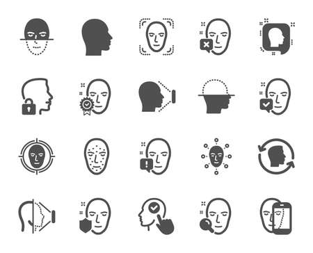 Face recognition icons. Set of Facial biometrics detection, scanning and unlock system icons. Facial scan, identification, Face id. Confirmed person, Biometrics access, Unlock smartphone. Vector Vecteurs