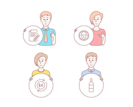 People hand drawn style. Set of Face detect, Money currency and Article icons. Wine bottle sign. Select target, Cash change, Feedback. Cabernet sauvignon.  Character hold circle button. Vector Illustration