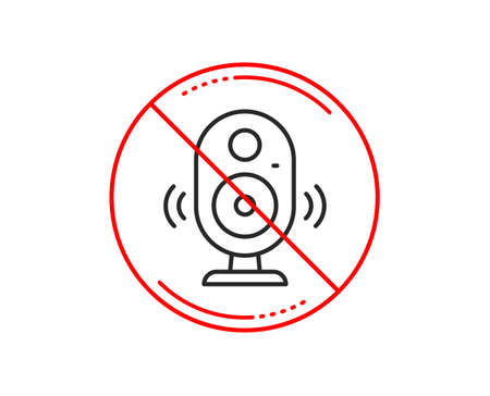 No or stop sign. Speaker line icon. Computer component sign. Sound symbol. Caution prohibited ban stop symbol. No  icon design.  Vector