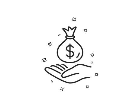 Income money line icon. Savings sign. Save finance symbol. Geometric shapes. Random cross elements. Linear Income money icon design. Vector