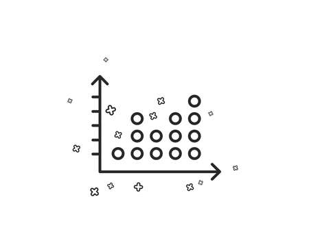 Dot plot graph line icon. Presentation chart sign. Market analytics symbol. Geometric shapes. Random cross elements. Linear Dot plot icon design. Vector