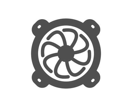 Computer cooler icon. PC fan component sign. Quality design element. Classic style icon. Vector