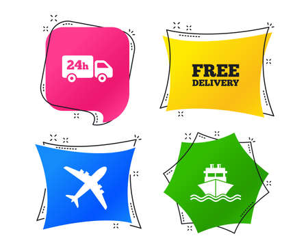 Cargo truck and shipping icons. Shipping and free delivery signs. Transport symbols. 24h service. Geometric colorful tags. Banners with flat icons. Trendy design. Vector Illustration