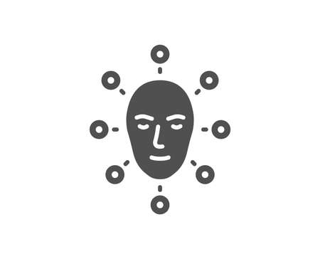 Face biometrics icon. Facial recognition sign. Head scanning symbol. Quality design element. Classic style icon. Vector Illustration