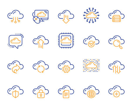 Cloud data and technology line icons. Set of Hosting, Computing data and File storage icons. Archive, Download, Share cloud files. Sync technology, Web server, Storage access. Vector