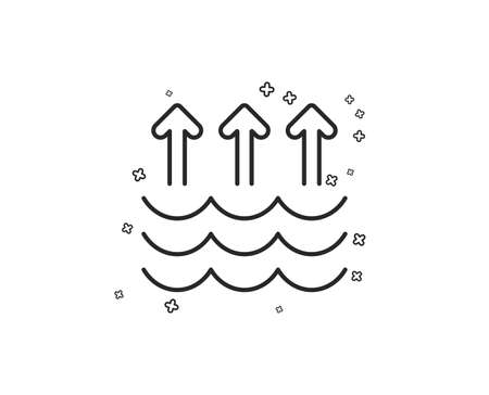 Evaporation line icon. Global warming sign. Waves symbol. Geometric shapes. Random cross elements. Linear Evaporation icon design. Vector