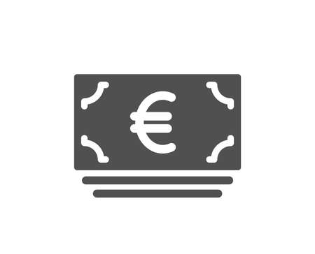 Cash money icon. Banking currency sign. Euro or EUR symbol. Quality design element. Classic style icon. Vector Illustration