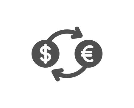 Money exchange icon. Banking currency sign. Euro and Dollar Cash transfer symbol. Quality design element. Classic style icon. Vector