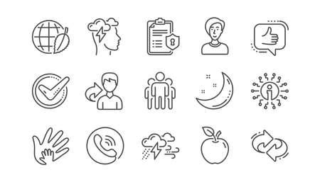 Marca de verificación, economía compartida y los iconos de la línea de estrés Mindfulness. Política de privacidad, Responsabilidad social. Conjunto de iconos lineales. Vector
