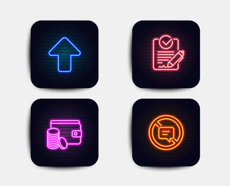 Neon set of Payment method, Rfp and Upload icons. Stop talking sign. Wallet with coins, Request for proposal, Load arrowhead. Do not talk. Neon icons. Glowing light banners. Vector