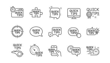 Snelle tips lijn pictogrammen. Handige trucs, oplossing en snelstartgids. Zelfstudie lineaire pictogramserie. Vector