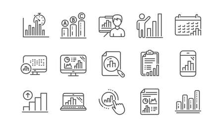 Graph line icons. Charts and graphs, Presentation and Report. Analytics linear icon set.  Vector