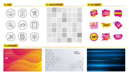 Seamless pattern. Shopping mall banners. Set of Shopping cart, Lift and Edit document icons. Buy currency, Checklist and Megaphone signs. Startup rocket, Internet and Multichannel symbols. Vector Illustration