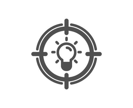 Idea icon. Light bulb or Lamp in target sign. Creativity, Solution or Thinking symbol. Quality design element. Classic style icon. Vector 向量圖像