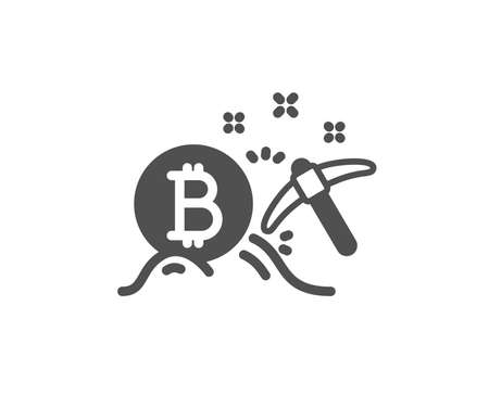 Bitcoin mining icon. Cryptocurrency coin sign. Crypto money pickaxe symbol. Quality design element. Classic style icon. Vector Illustration