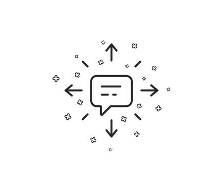 Conversation line icon. Chat Messages or SMS sign. Communication symbol. Geometric shapes. Random cross elements. Linear SMS icon design. Vector