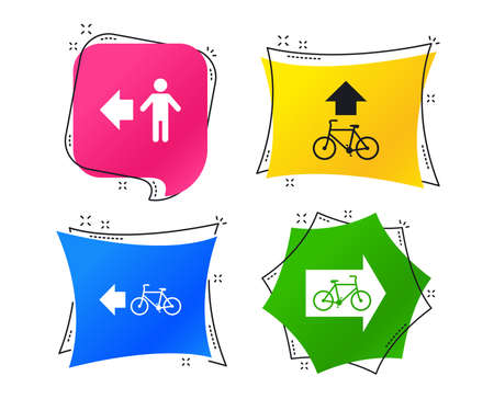 Pedestrian road icon. Bicycle path trail sign. Cycle path. Arrow symbol. Geometric colorful tags. Banners with flat icons. Trendy design. Vector