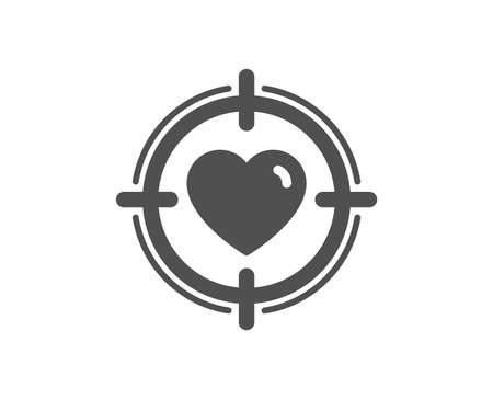 Heart in Target aim icon. Love dating symbol. Valentines day sign. Quality design element. Classic style icon. Vector