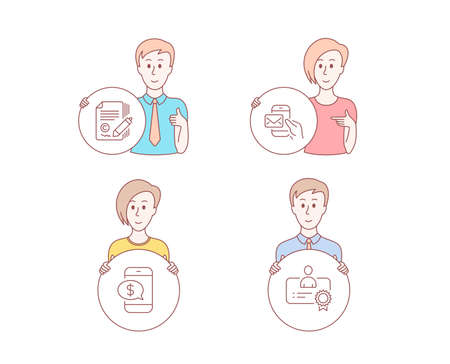 People hand drawn style. Set of Copywriting, Messenger mail and Phone payment icons. Certificate sign. Ð¡opyright signature, New e-mail, Mobile pay. Best employee.  Character hold circle button