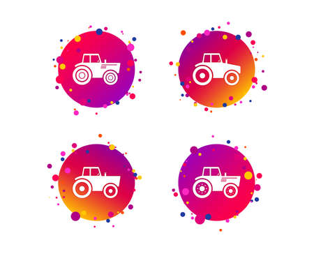 Tractor icons. Agricultural industry transport symbols. Gradient circle buttons with icons. Random dots design. Vector Illustration