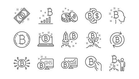 Cryptocurrency line icons. Blockchain, Crypto ICO and Bitcoin. Mining linear icon set.  Vector