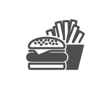 Burger with fries icon. Fast food restaurant sign. Hamburger or cheeseburger symbol. Quality design element. Classic style icon. Vector