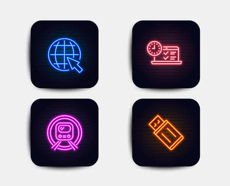 Neon set of Metro subway, Internet and Online test icons. Usb flash sign. Underground, World web, Examination. Memory stick. Neon icons. Glowing light banners. Vector Illustration