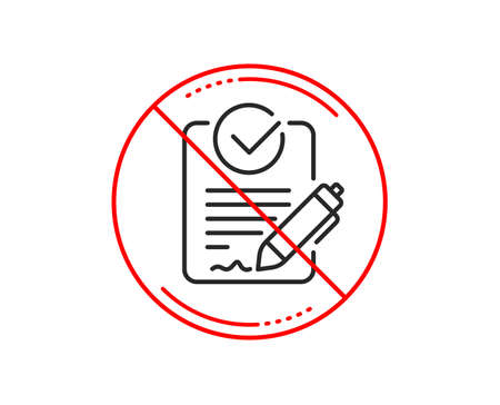 No or stop sign. Rfp line icon. Request for proposal sign. Report document symbol. Caution prohibited ban stop symbol. No  icon design.  Vector Illustration