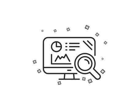 Seo statistics line icon. Search engine sign. Analytics chart symbol. Geometric shapes. Random cross elements. Linear Seo analytics icon design. Vector