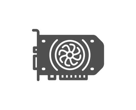 Gpu graphic card icon. Computer component hardware sign. Quality design element. Classic style icon. Vector Illustration