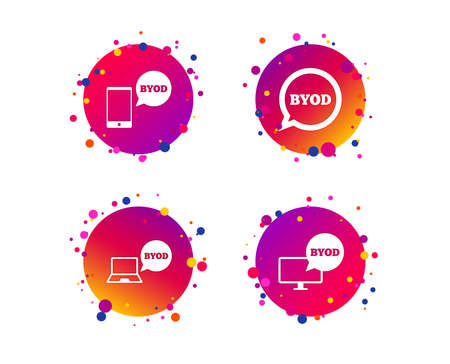 BYOD icons. Notebook and smartphone signs. Speech bubble symbol. Gradient circle buttons with icons. Random dots design. Vector