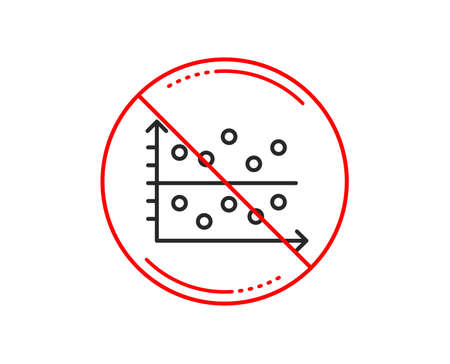No or stop sign. Dot plot graph line icon. Presentation chart sign. Market analytics symbol. Caution prohibited ban stop symbol. No  icon design.  Vector