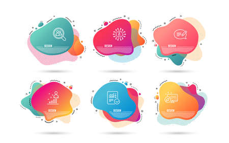 Dynamic liquid shapes. Set of Checked calculation, Message and Stats icons. Search employees sign. Statistical data, Speech bubble, Business analysis. Staff analysis.  Gradient banners. Vector Ilustrace