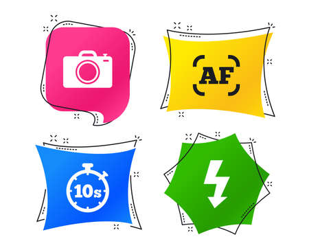 Photo camera icon. Flash light and autofocus AF symbols. Stopwatch timer 10 seconds sign. Geometric colorful tags. Banners with flat icons. Trendy design. Vector