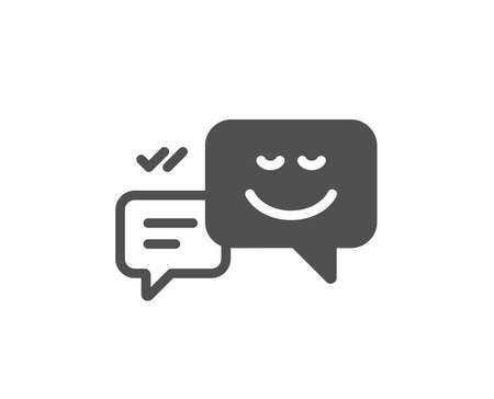 Message speech bubbles with Smile icon. Chat emotion sign. Quality design element. Classic style icon. Vector Ilustração