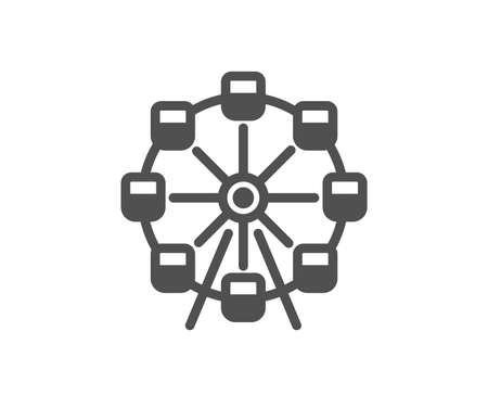 Ferris wheel icon. Amusement park sign. Carousels symbol. Quality design element. Classic style icon. Vector