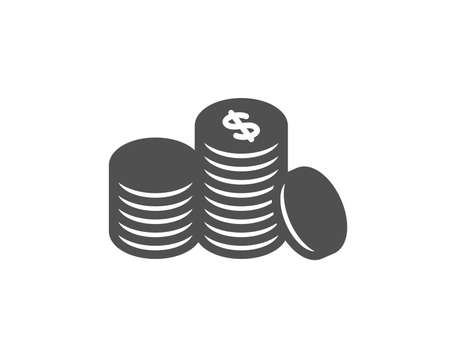 Coins money icon. Banking currency sign. Cash symbol. Quality design element. Classic style icon. Vector