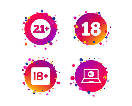Adult content icons. Eighteen and twenty-one plus years sign symbols. Notebook website notice. Gradient circle buttons with icons. Random dots design. Vector