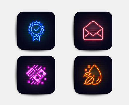 Neon set of Certificate, Mail and Payment icons. Water drop sign. Verified award, E-mail, Money. Serum oil. Neon icons. Glowing light banners. Vector