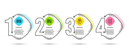 Plantilla de infografía 4 opciones o pasos. Conjunto de iconos de lugar de estacionamiento, estacionamiento y barco. Señal de salida. Transporte, Puerta automática, Embarcación de envío. Escapar. Diagrama de proceso, diseño de flujo de trabajo