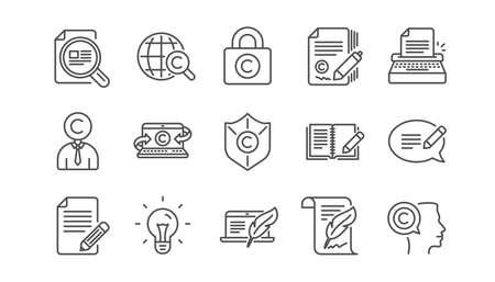 Iconos de línea de redacción publicitaria. Copyright, máquina de escribir y comentarios. Conjunto de iconos lineal de contenido legal. Vector