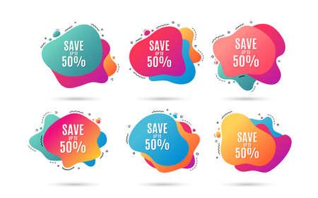 Sparen Sie bis zu 50%. Rabatt-Angebots-Preis-Zeichen. Sonderangebot-Symbol. Abstrakte dynamische Formen mit Symbolen. Farbverlauf-Banner. Flüssige abstrakte Formen. Vektor Vektorgrafik
