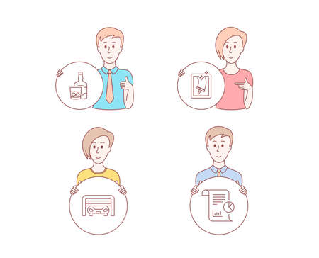 People hand drawn style. Set of Window cleaning, Parking garage and Whiskey glass icons. Report sign. Housekeeping service, Automatic door, Scotch drink. Work analysis.  Character hold circle button  イラスト・ベクター素材