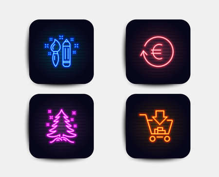 Neon set of Creativity, Christmas tree and Exchange currency icons. Shopping sign. Graphic art, Spruce, Reshresh exchange rate. Add to cart. Neon icons. Glowing light banners. Vector